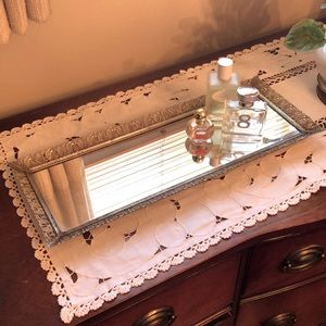 Vintage Gold Brass Vanity Mirrored Tray Beautiful!